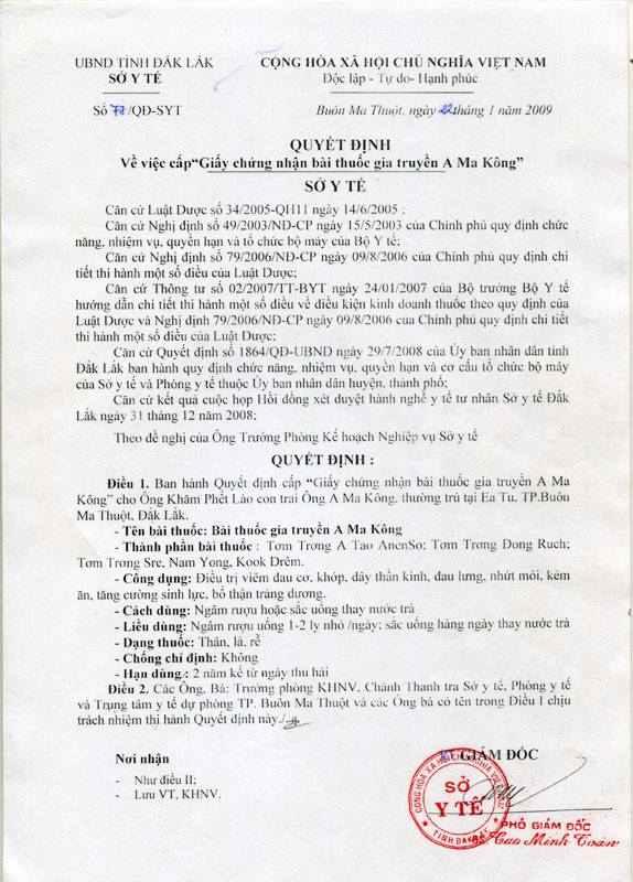 giấy chứng nhận thang thuốc amakong